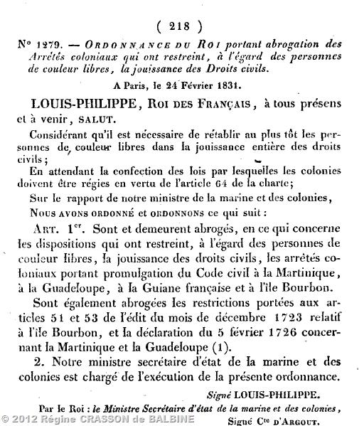 ordonnance 1831